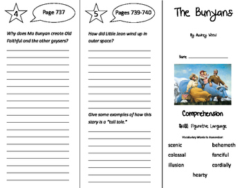 The Bunyans Trifold - Storytown 4th Grade Unit 6 Week 3