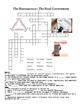 US Government: The Bureaucracy Crossword or Web Quest