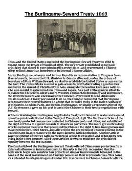 The Burlingame-Seward Treaty 1868 Article with Summary Assignment
