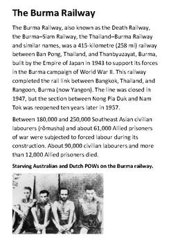 The Burma Railway and the bridge on the River Kwai Handout