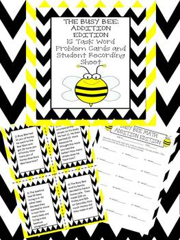 The Busy Bee Addition Task Cards! *Students Love The Busy Bee!*
