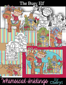 The Busy Elf Clipart and Printables~ With Lineart