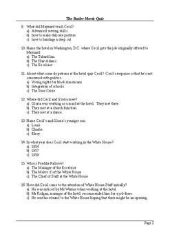 The Butler Movie - 100 Question Multiple Choice Quiz