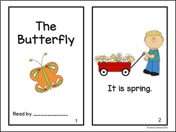 The Butterfly Emergent Reader Book {Young Readers, ESL, EFL}
