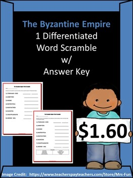 The Byzantine Empire- 1 Differentiated Word Scramble w/ Answer Key