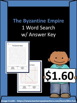 The Byzantine Empire- 1 Word Search w/ Answer Key