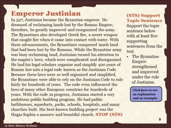 Byzantine Empire Reading Activities