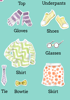 The CLOTHES vocabulary poster. Decoration. ESL/EFL/ELL.