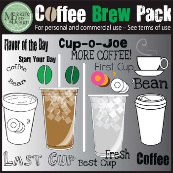 The COFFEE BUZZ BUZZ Clip Art Brew Pack {Messare Clips and Design}