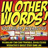 The CONSTITUTION UNIT Vocabulary Card Sort, Google Interac