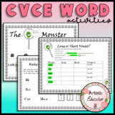 CVCe word monster activities and poster