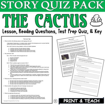 The Cactus Short Story by O. Henry: Common Core ELA Test Prep Quiz