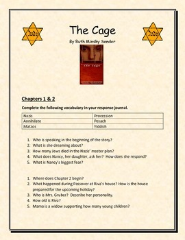 The Cage by Ruth Minsky Sender - Guided Question Sheet wit