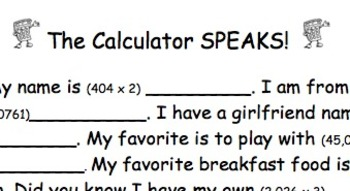 """The Calculator SPEAKS!"" Introductory Calculator Activity"