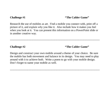 """""""The Calder Game"""", by B. Balliett, Challenges to go with the Book"""