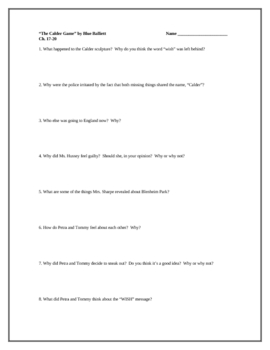 """The Calder Game"", by B. Balliett, Comprehension Questions"