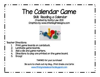 The Calendar Game--Dates on the Calendar