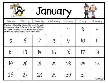 The Calendar Game--Days of the week