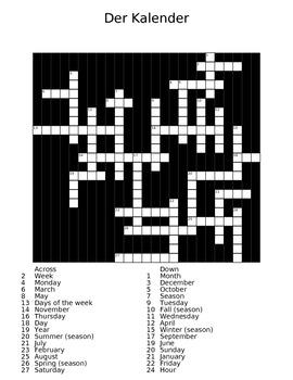 The Calendar (der Kalender) German Crossword Puzzle with Answer Sheet