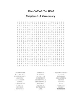The Call of the Wild Ch 1-2 Vocabulary Word Search