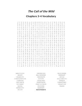 The Call of the Wild Ch 3-4 Vocabulary Word Search