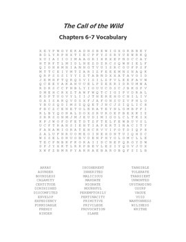 The Call of the Wild Ch 6-7 Vocabulary Word Search