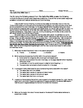 The Call of the Wild Exam 1 (Chapters 1-3)