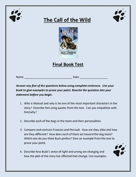 The Call of the Wild Final Book Test or Book Report