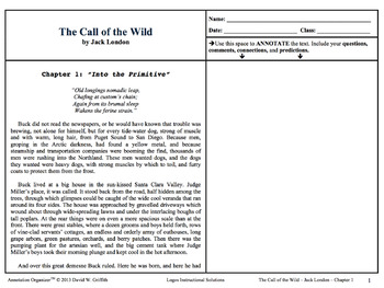 Call of the Wild - Jack London: Digital Book Bundle and Annotation Organizer