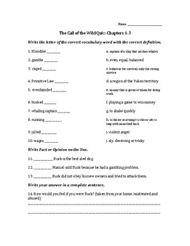 The Call of the Wild Quizzes, Saddleback Version