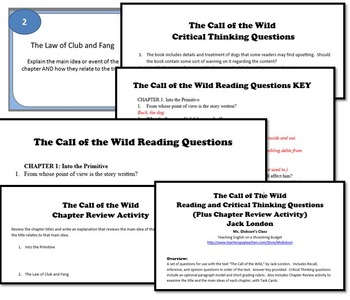 The Call of the Wild Reading and Thinking Questions (Jack London)