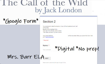 """The Call of the Wild Section Quiz after """"The Other Animals"""" *Digital Assessment"""