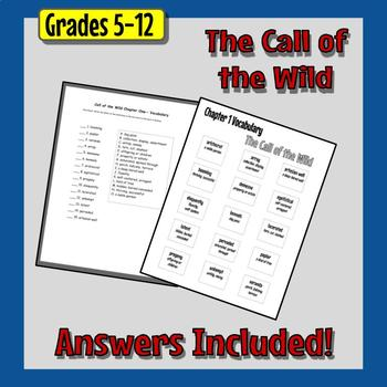 The Call of the Wild Vocabulary - 7 Matching Quizzes