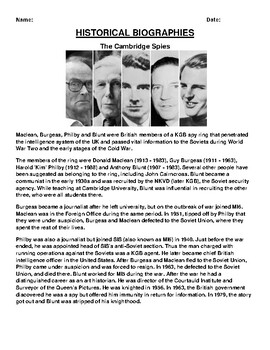The Cambridge Spies Biography Article and (3) Assignments