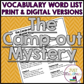 The Camp-Out Mystery Vocabulary Word List