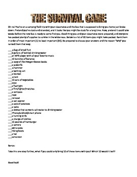 The Camping Survival Game - A Language Activity
