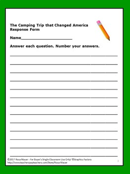 fb834f44fc0 The Camping Trip That Changed America Book Unit by Rosa Mauer