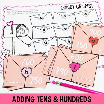 Valentine's Day Math Centers for 2nd and 3rd Grade