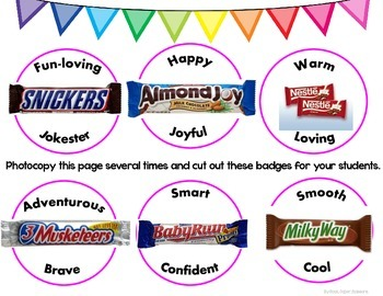 Freebie! Candy Bar Personality Type