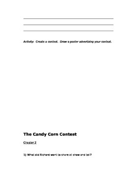"""""""The Candy Corn Contest"""" Comprehension Questions"""
