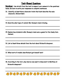 The Candy Corn Contest Vocabulary & Comprehension Quiz (Chapters 1-6)