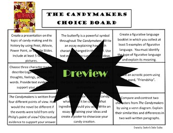 The Candymakers Choice Board Novel Study Activities Menu Book Project Rubric