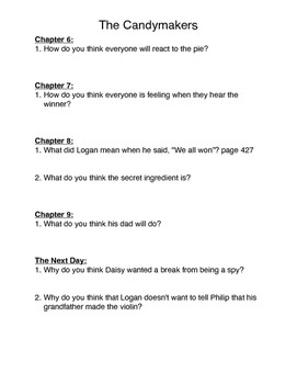 The Candymakers Comprehension Questions-Part 5