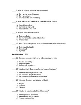 The Canterbury Tales (Adapted Quizzes)