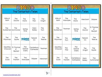 THE CANTERBURY TALES BINGO: INSTRUCTIONS, GAME BOARDS AND CALL SHEET