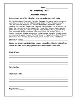 The Canterbury Tales Character Analysis Activity - Geoffrey Chaucer