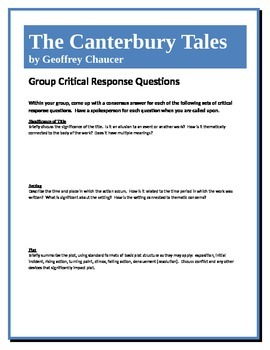 The Canterbury Tales - Chaucer - Group Critical Response Questions
