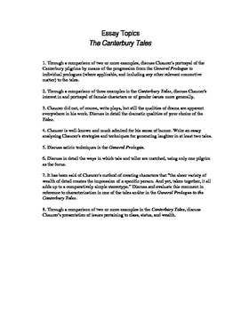 The Canterbury Tales: Essay Topics