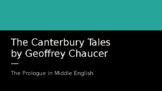 The Canterbury Tales (Pre- Lesson)