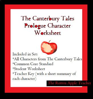 The Canterbury Tales Prologue Character Worksheet